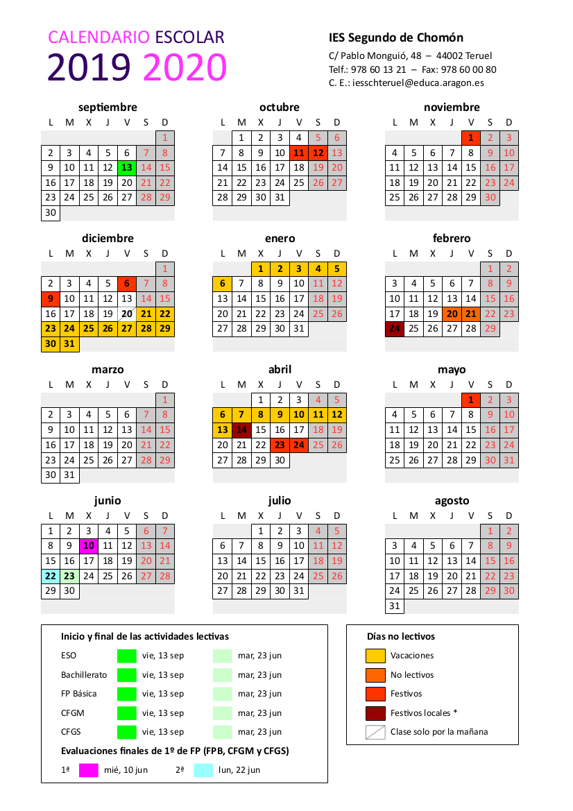 Educaragon Calendario Escolar 2020.Calendario Escolar Curso 2019 2020